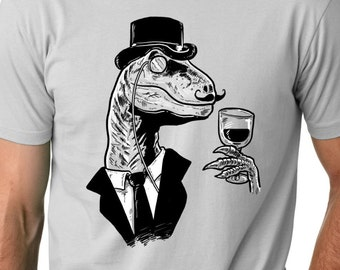 Mens Dino Sir T-Shirt funny dinosaur, hippster, mustache, back to school in style, guys, husband boyfriend, drinking S-5XL