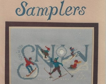 """Clearance - """"Snow Sports"""" Counted Cross Stitch Chart by Oberlin Samplers"""