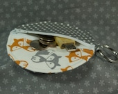 Round Zip Coin Purse for Earbuds or Change -- Foxes and Gray Dots (large)