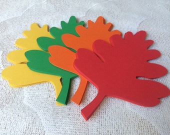 32 Oak Leaf Die Cuts, Fall Leaves for Bulletin Boards, Classroom Decoration, Fall Party - Jumbo 5.5 Inch