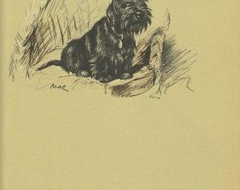 SCOTTIE  Antique Dog Print, 1930s Pet Portrait, Lucy Dawson,Terrier Animal Print, Wall Art Illustration, Home Decor, Book page, Black, B-1