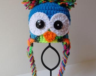 Ready to Ship Newborn Owl Hat Rainbow Baby Boy Girl Photo Prop