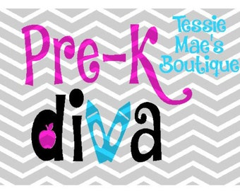 Pre-K Diva Instand Download Digital Cut File