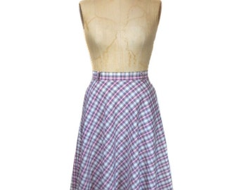 vintage 1970s plaid skirt / cotton blend / MJ Concepts in Sportswear / full skirt / spring summer / women's vintage skirt / tag size 7