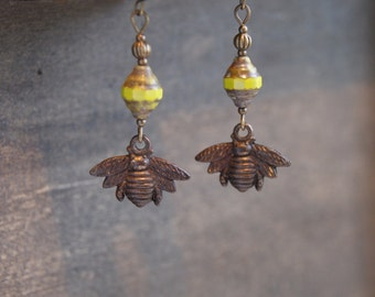 Bumble Bee Earrings Nature Bee Earrings Honey Bee Earrings Bee Jewelry Woodland Bee Earrings Bumble Bee Jewelry Bee and Honeycomb Bee Keeper