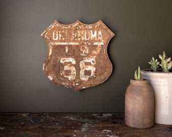Vintage Sign / 1920's / Original Oklahoma Route 66 Highway Shield / Embossed Steel Sign
