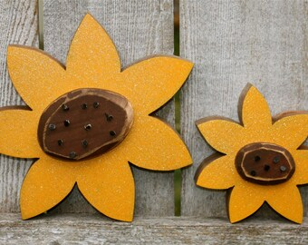 Wood Sunflowers | Carved Wooden Sunflowers | Fall Decor Summer Decor Home Decor Rustic Farmhouse Wood Sunflowers | Autumn Decor Sunflowers