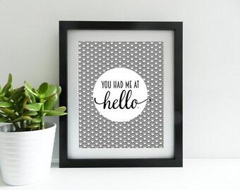 You Had Me At Hello - Mono - Circles - 8x10 inch print