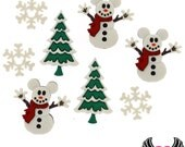 Disney MICKEY MOUSE SNOWMEN Christmas Tree & Snowflakes Jesse James Licensed Buttons Or Make into Flatback Cabochons