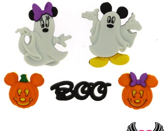Disney MICKEY MOUSE & MINNIE MoUSE Halloween Ghosts and Pumpkins Jesse James Licensed Buttons Or Make into Flatback Cabochons