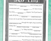Chalkboard Baby Shower Madlibs Game - Instant Download - DIY Printable PDF (Letter and A4)