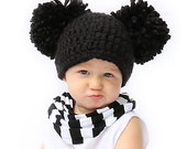 Black Double Pom Pom Hat- Winter beanie- available in all sizes