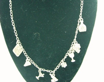 Vintage 21 Inch Wine and Cheese Necklace in Silvertone with Pewter Charms