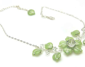 Green Flower Necklace with Crystals and Leaves, Green Beaded Necklace, Light Green Bridal Necklace, Wedding Jewelry, Nature Jewelry,  N500