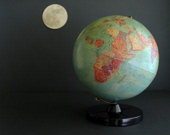 "Replogle World Globe 1950s Stereo Relief 12"" Globe"