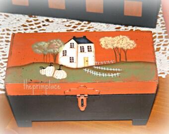 Primitive Hand Painted Wooden Trinket Box ~ Primitive Fall Decor~ Home Decor ~ Autumn Decor ~ Primitive Decor ~ Wooden Box ~ Decorative Box