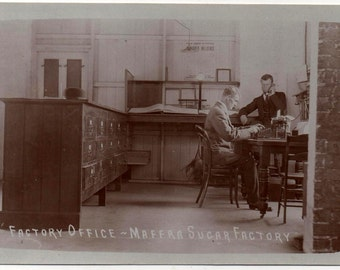 Postcard of an Smith Premier Typewriter in the Maffra Sugar Factory Office, RPPC