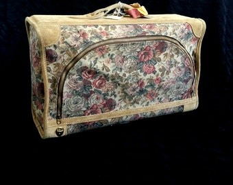 Tapestry Leather Overnight Suitcase / Vintage Weekend Travel Luggage / Suede & Floral Tapestry Carry On / Small Tapestry Train Case Trunk