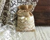 10 lace covered burlap favor bags, wedding, bridal shower, tea party gift bag