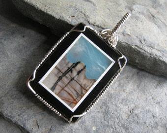 Intarsia Jasper Pendant, Amazonite Intarsia Jewelry, Mountain Sky, Picasso Jasper Wire Wrapped Pendant, 925 Sterling Silver, Onyx Gemstone