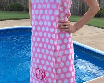 Size XL-XXL: Light Pink and White Polka Dot Spa WRAP/ Bath Wrap/ Towel Wrap/ Bridesmaid Gift