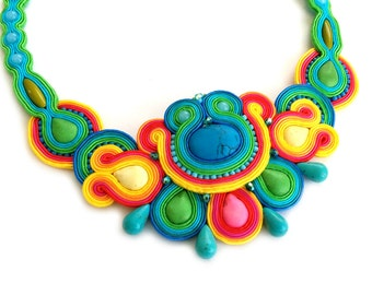Colorful statement necklace - Bib statement necklace - Rainbow statement necklace - Soutache necklace - birthday gift for wife Girlfriend