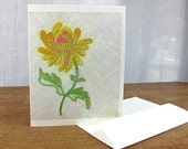 Blank Greeting Card / Vintage Yellow Embroidered Flower Print / Sleeved A2 Size with Envelope