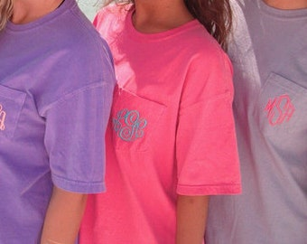 SALE Comfort Color Monogrammed Pocket Tee, Monogram Short Sleeve, Spring Break Shirt, Comfort Colors Pocket Tshirt, tee, shirt, tshirt