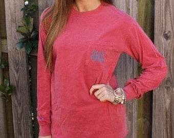 SALE Comfort Colors Shirt, comfort colors Pocket Tee, long sleeve with pocket, long sleeved with pocket, pocket monogram long sleeve shirt