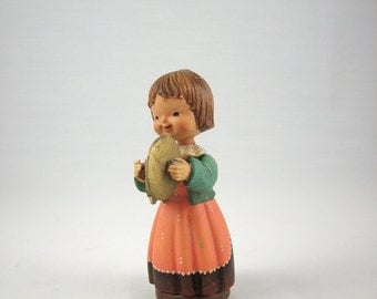 Vintage Anri Wood Figure Girl with Music Symbols Small Chip