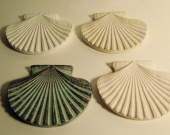 Large Ceramic Scallop Shells - Four Large Ceramic Scallop Shells
