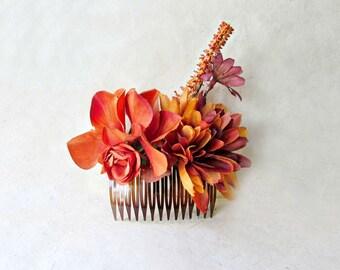 Flower Hair Comb, Autumn Wedding Hair, Burnt Orange Floral, Copper Flowers, Bridal Hair Comb, Rustic Wedding Hair Accessories, Fall Bridal