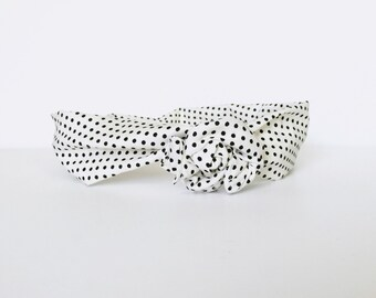 polka dots, black & white, neutral, fall, retro, wire wrap headband, twist turban head wrap - one size fits all