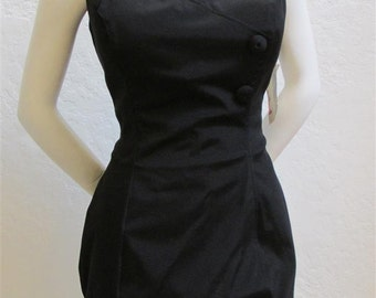 "On Sale! 1960's ""Deadstock"" Black, Pin Up Bathing Suit / Rockabilly One Piece Swimsuit. Size: 44 Inch Bust"