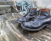 Work combat boots man military black leather boots shoes vintage 50s