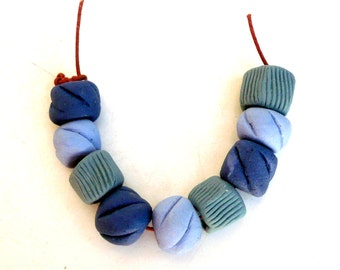 Blue Bead Mix Set, Cobalt Blue And Teal Beads , Tribal Beads , Jewelry Supplies