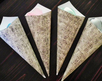Paper petal cones, vintage look music notes, rose petal toss, wedding favors