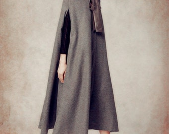 Wool cloak coat, grey wool coat, wool jacket, wool hooded coat, hoodie coat, wool hooded cloak in black, red, purple, blue and green