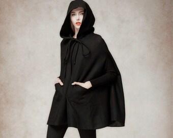 Black Hooded Wool Coat ,Wool Cloak Cape, Big Sweep Women Wool Winter Coat Long Jacket, Christmas Gift Coat, Black Cashmere Coat Cape Cloak