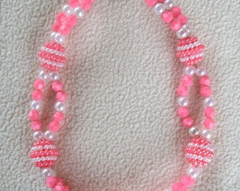 Dog Pet Necklace Collar Jewelry Pink and White Double Row Pearls