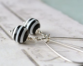 Black and White Earrings, Dangle Earrings, Beaded Earrings, Monochrome Resin Earrings, Funky Earrings, Black and White Stripe Earrings UK