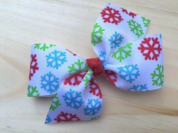 Snowflake hair bow - winter hair bow, 4 inch hair bow