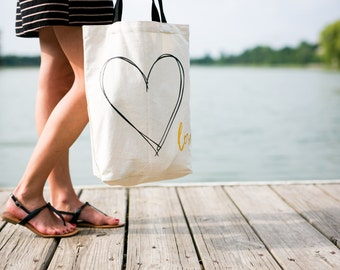 Canvas Tote - Heart Tote, Gold Love Bag, Bridesmaid Gift, Bridesmaid Tote, Travel Bag, Beach Bag, Honeymoon Tote, Wedding Bag, Bridal Tote