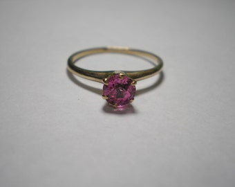 Antique Vintage 10 Kt Gold Pink Sapphire Solitaire Ring Size 6.5