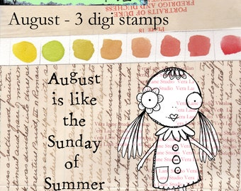 August- Whimsical and quirky girl digi stamp with birthday sentiment in jpg and png files