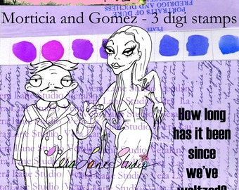 Gomez and Morticia - creepy and kooky digi stamp set available for instant download