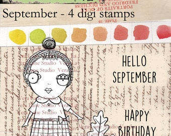 September - A digi stamp set for September Birthdays or any time -- 4 image set available for instant download