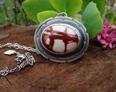 Noreena Jasper Layered Sterling Silver Pendant. Hand Cut Horse Detail on Back. Red Burgandy and White. Natural Jasper. Horse. Western.