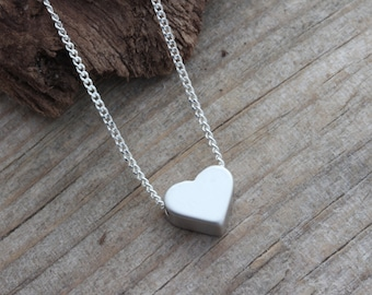 Delicate necklace, Heart Necklace On Sterling silver chain . Small Heart Necklace, Heart Jewelry, Simple Necklace. Rhodium