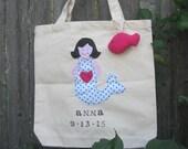 Happy Little Mermaid  Kids Tote Bag Personalized Schoolbag Shopping bag Book Bag
